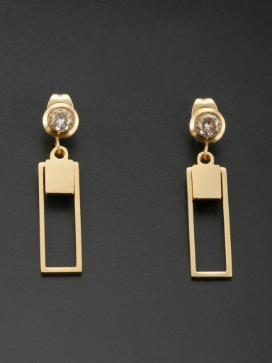 New design Stainless steel Square Rhinestone Drop drop Earring in Gold color