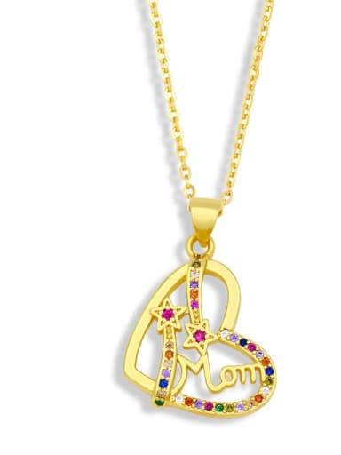 B Brass Cubic Zirconia  Minimalist Letter Heart Pendant  Necklace