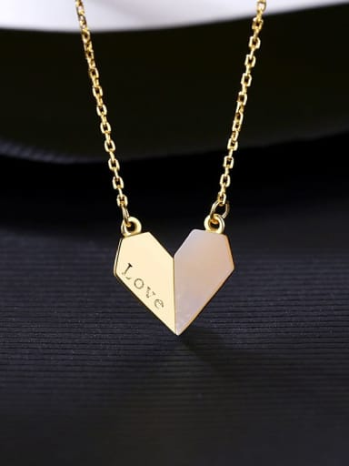 18K 14I07 925 Sterling Silver Shell Heart Minimalist Necklace