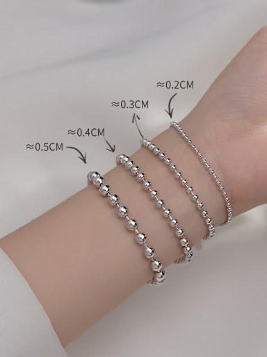 925 Sterling Silver Bead Round Minimalist Beaded Bracelet