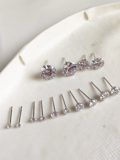 925 Sterling Silver Cubic Zirconia  Minimalist   Geometric Four Claw Ear NailStud Earring