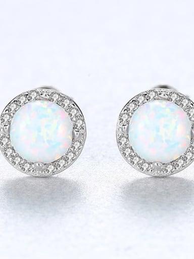 White 18e04 925 Sterling Silver Opal Round Minimalist Stud Earring
