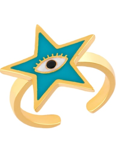green Brass Enamel Star Minimalist Band Ring