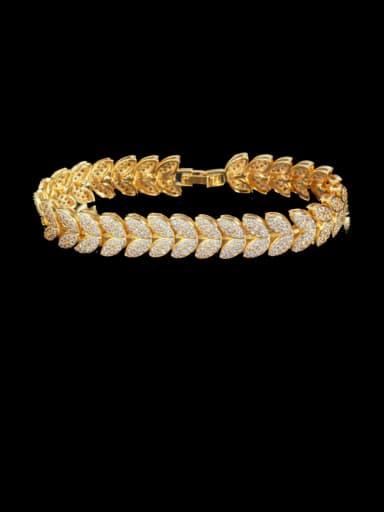 Golden Brass Cubic Zirconia Leaf Luxury Bracelet