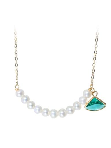 Brass Freshwater Pearl Geometric Minimalist Necklace