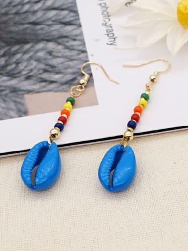 B E200002A Stainless steel MGB Bead Multi Color Tassel Bohemia Hook Earring