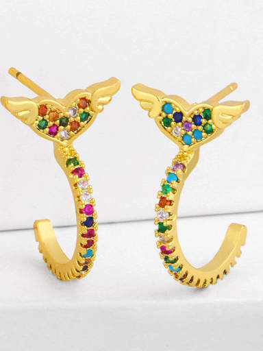 love Brass Cubic Zirconia Rainbow Vintage Huggie Earring