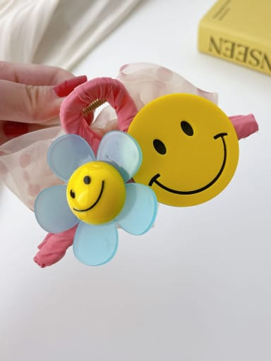 Pink smiling face 11cm Alloy Resin Trend Cute Smiley  Flower Jaw Hair Claw