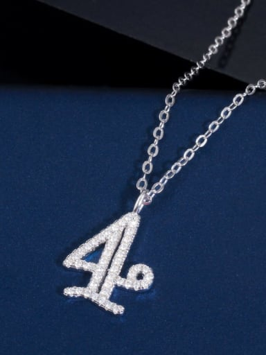4 (including chain) Copper Cubic Zirconia Number Dainty Necklace