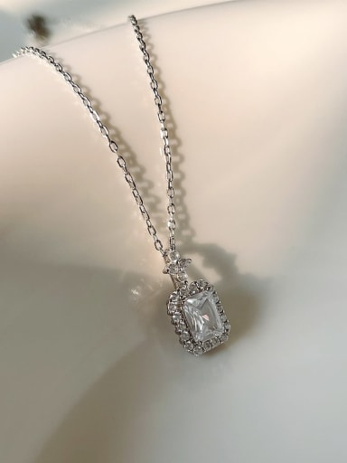 925 Sterling Silver Cubic Zirconia Geometric Minimalist Necklace