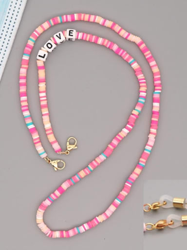 RT N200006D Stainless steel Bead Multi Color Polymer Clay Letter Bohemia Hand-woven Necklace