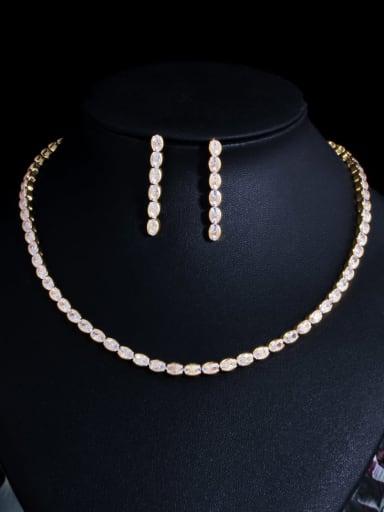 golden Brass Cubic Zirconia Minimalist Geometric  Earring and Necklace Set