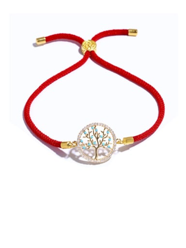 Red rope gold Brass Cubic Zirconia Tree Vintage Adjustable Bracelet