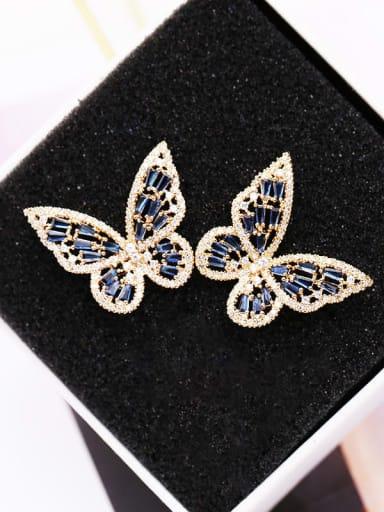 Golden Blue Diamond Brass Cubic Zirconia Butterfly Statement Stud Earring