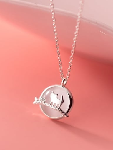 925 Sterling Silver Cats Eye Cat Minimalist Necklace