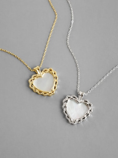 925 Sterling Silver With Gold Plated Fashion Heart Locket Necklace