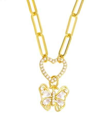 B Brass Cubic Zirconia Letter Hip Hop Heart Pendant Necklace
