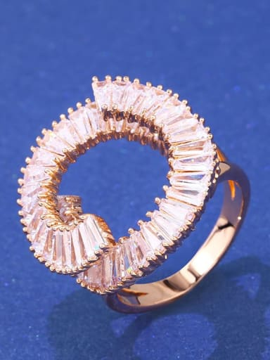 rose gold Brass Cubic Zirconia Geometric Luxury Band Ring