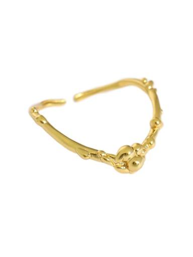 Gold [15 adjustable] 925 Sterling Silver Irregular Minimalist Band Ring