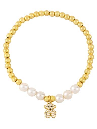 C Brass Imitation Pearl Smiley Vintage Beaded Bracelet