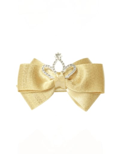 3 ginger Alloy Fabric Cute Bowknot  Rhinestone White Hair Barrette