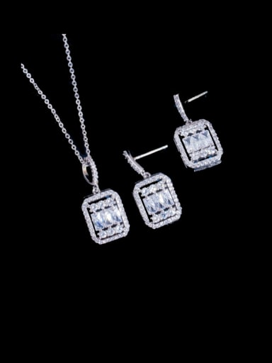 Platinum two piece set Brass Cubic Zirconia Luxury Geometric  Earring and Necklace Set