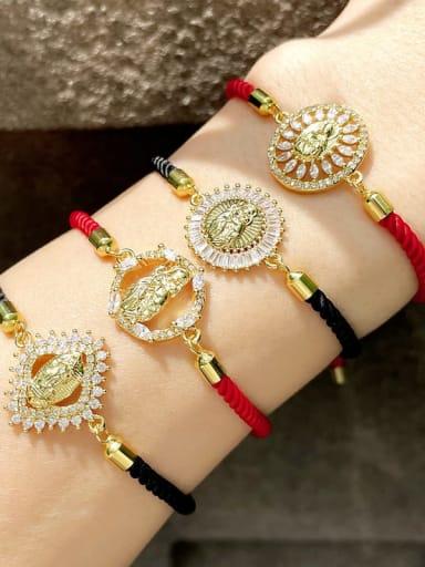 Brass Cubic Zirconia Religious Vintage Woven Bracelet