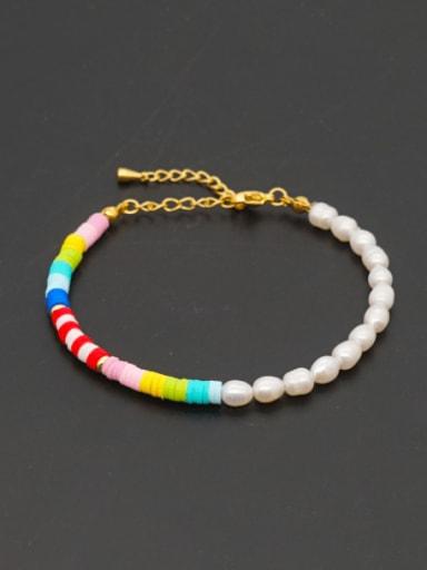 Stainless steel Freshwater Pearl Round Minimalist Beaded Bracelet