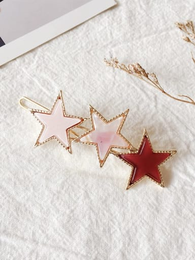 Light pink Alloy Cellulose Acetate Minimalist Star  Hair Pin