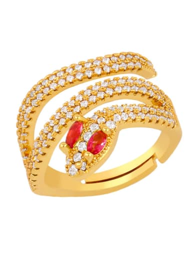 Rose red Brass Cubic Zirconia Snake Luxury Stackable Ring