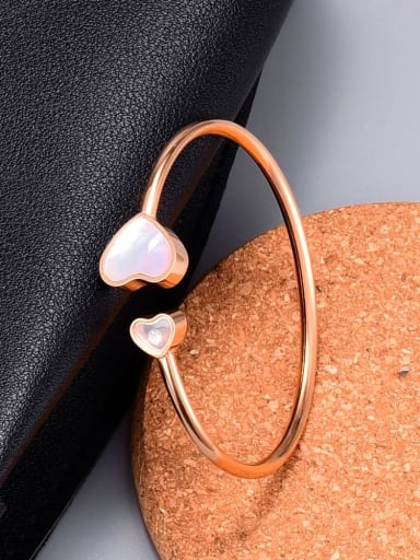 Titanium Shell Heart Minimalist Cuff Bangle