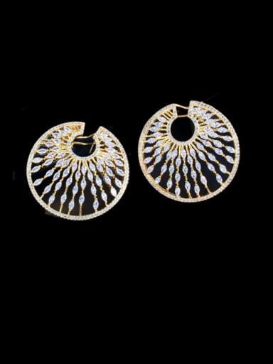 Golden Brass Cubic Zirconia Geometric Luxury Cluster Earring
