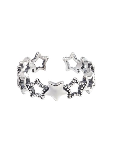 925 Sterling Silver Hollow Star Vintage Midi Ring