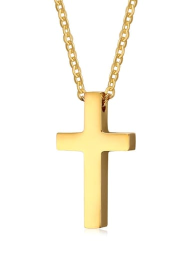 Golden Stainless Steel  Smooth Cross Minimalist Regligious Necklace