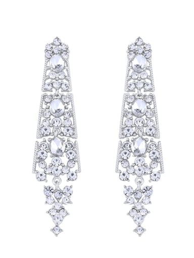 platinum Alloy Rhinestone Geometric Bohemia Drop Earring