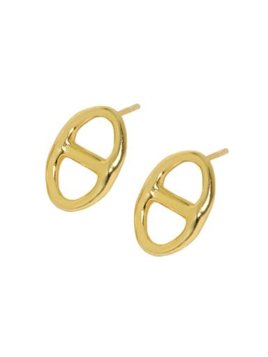 18K gold [with pure Tremella plug] 925 Sterling Silver Hollow Geometric Vintage Stud Earring