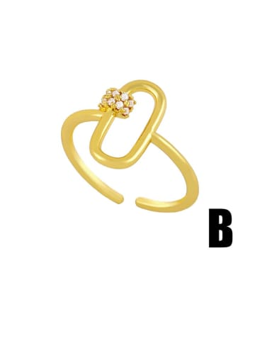 B Brass Rhinestone Snake Hip Hop Band Ring