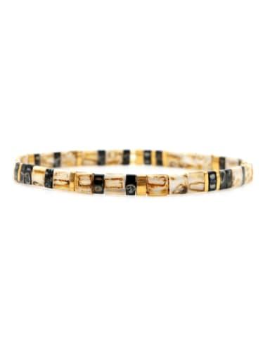 Stainless steel Tila Bead Geometric Bohemia Handmade Weave Bracelet