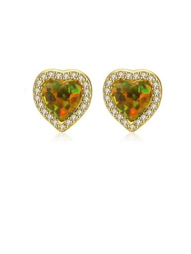 925 Sterling Silver Opal Heart Dainty Stud Earring