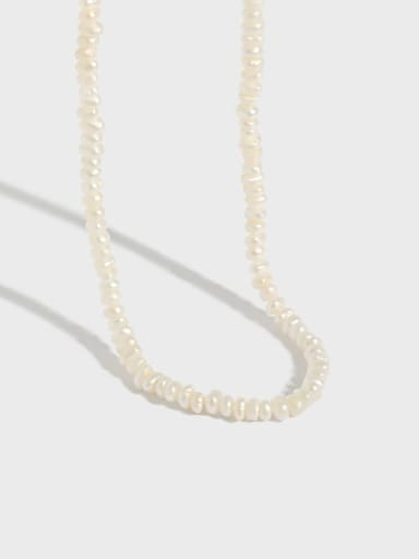 925 Sterling Silver Freshwater Pearl Irregular Minimalist Necklace