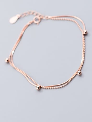 925 Sterling Silver Round  bead Minimalist Link Bracelet