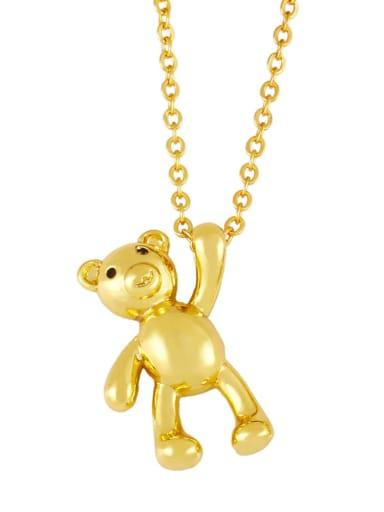 Brass Cubic Zirconia  Vintage Bear Pendant Necklace