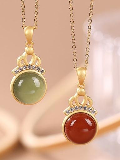 925 Sterling Silver Carnelian Geometric Vintage Necklace