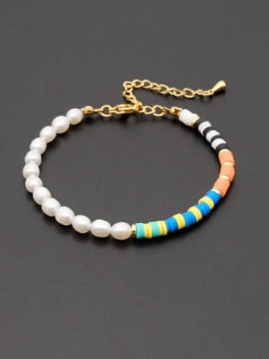 ZZ B200190A Stainless steel Freshwater Pearl Round Minimalist Beaded Bracelet