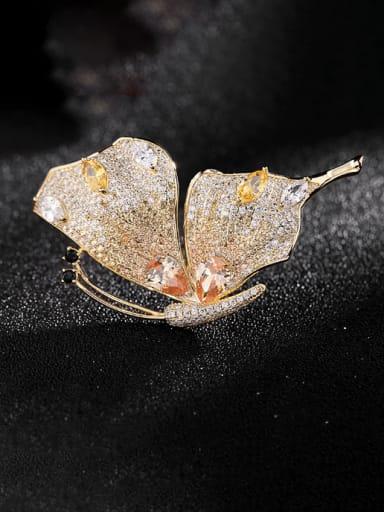 Golden yellow zirconium Brass Cubic Zirconia Butterfly Trend Brooch