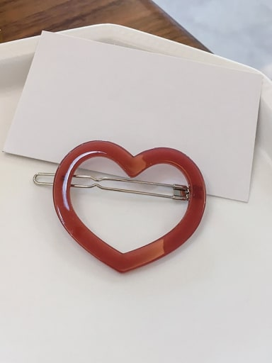 Vitality red Cellulose Acetate Minimalist Hollow Heart Alloy Hair Pin