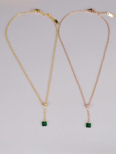 Titanium Steel Cubic Zirconia Heart Minimalist Lariat Necklace