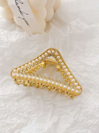 Triangle 6.8cm Alloy Imitation Pearl Minimalist Geometric  Jaw Hair Claw