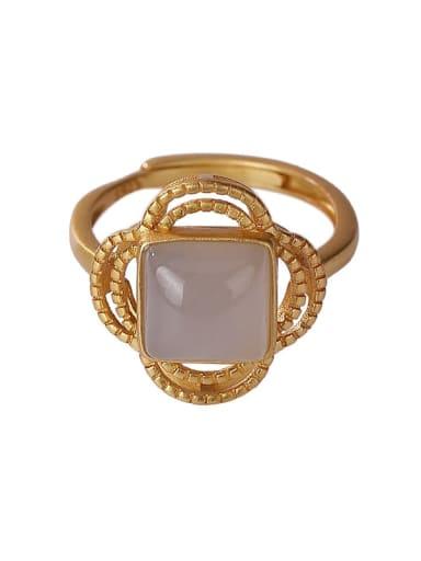 925 Sterling Silver Jade Flower Vintage Band Ring