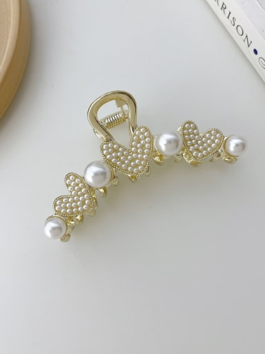 Alloy Imitation Pearl Trend Heart Jaw Hair Claw